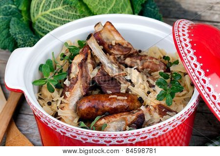 Stewed Cabbage With Roasted Meat