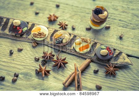 Swiss Chocolate Candies With Nuts And Dried Fruits