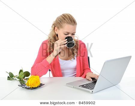 Woman With A Cup Of Coffee.
