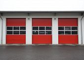 stock photo of fire-station  - Row of garages of a public fire station in Germany - JPG