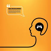 picture of video game controller  - Head think with speech bubble - JPG