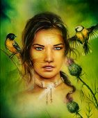 Постер, плакат: Beautiful Portrait Of A Young Enchanting Woman Face With Birds On Green Painting Background