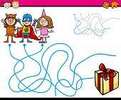 foto of maze  - Cartoon Illustration of Education Paths or Maze Game for Preschool Children with Children and Present - JPG
