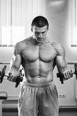 stock photo of exercise  - Dumbbell exercises - JPG