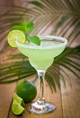 stock photo of lime  - Margarita in a glass with fresh lime and mint  - JPG