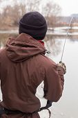 stock photo of fisherman  - Rest in winter fishing - JPG