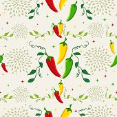 image of chili peppers  - Mexican food seamless pattern background illustration with colorful chili pepper - JPG