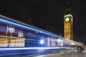 stock photo of westminster bridge  - Big ben and Westminster Bridge at Night - JPG