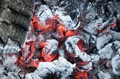 image of ashes  - Fire from burning firewood with ashes and flames - JPG