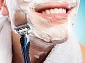 foto of shaved head  - Health beauty and skin care concept - JPG