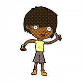 picture of attitude boy  - retro comic book style cartoon boy with positive attitude - JPG