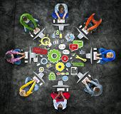 stock photo of collaboration  - Team Teamwork Support Success Collaboration Cog Unity Concept - JPG