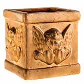 picture of cherub  - a golden candle holder with a cherub engraved isolated over a white background - JPG