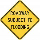 image of flood  - US road warning sign - JPG