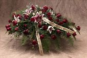 foto of funeral  - funeral casket spray of flowers for ceremony - JPG