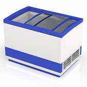 foto of frozen food  - blue with white refrigerator shopping for frozen foods - JPG