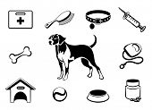 picture of bag-of-dog-food  - Set of dog vet clinic icons medical care to dog - JPG