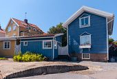 pic of wooden shack  - Colourful gables of the wooden sheds - JPG