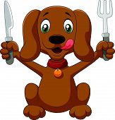 image of sheltie  - Vector illustration of Hungry dog cartoon is ready to eat - JPG