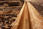stock photo of reconstruction  - Reconstruction old tram track on town centre - JPG