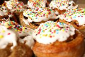stock photo of cake-ball  - Easter homemade cakes covered with colorful sugar balls  - JPG