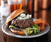 image of burger  - burger with blue cheese served with beer - JPG