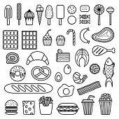 picture of meat icon  - Icon of sweets fast food meat and fish - JPG