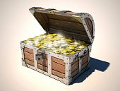 stock photo of treasure chest  - open treasure chest with shiny golden coins - JPG