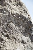 stock photo of oman  - Closeup of the famous Colemans Rock in Oman - JPG