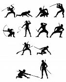 stock photo of ninja  - Vector illustration of a ninja silhouettes set - JPG