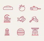foto of bast  - cookery kitchen icon bast set best illustrations in a modern style - JPG