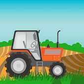 image of tractor  - Rural landscape with orange tractor - JPG