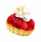 picture of tarts  - Strawberry tart dessert with meringue isolated on white - JPG