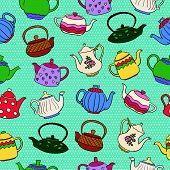 picture of teapot  - Seamless vector pattern with cute colorful freehand teapots on blue dotted background - JPG