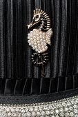 picture of brooch  - seahorse brooch on black silk background with diamonds - JPG