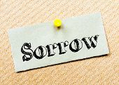 foto of sorrow  - Recycled paper note pinned on cork board - JPG