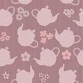 picture of kettles  - Seamless mauve pattern with kettles and flowers - JPG