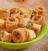 foto of baklava  - Delicious and fresh oriental sweets baklava with nuts - JPG