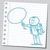picture of bubble sheet  - Schoolkid holding speech bubble - JPG