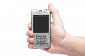stock photo of qwerty  - smart phone with qwerty keyboard in hand isolated on white background - JPG
