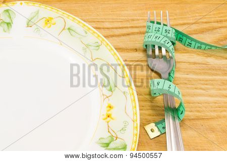 Empty Plate With Measure Tape
