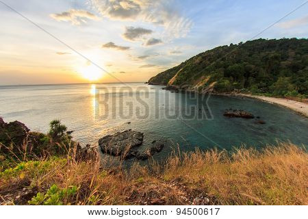 Sunset On The Sea At Had Hin Ngam (beautiful Rok Beach) Lanta Island, Krabi, Thailand