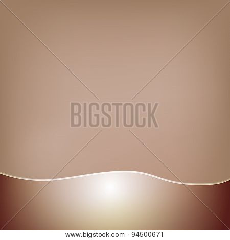 Abstract brown background with a glossy wavy frill at the bottom