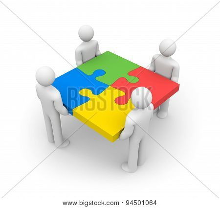 3d people - human character , person with piece of puzzle. ( jigsaw). 3d render