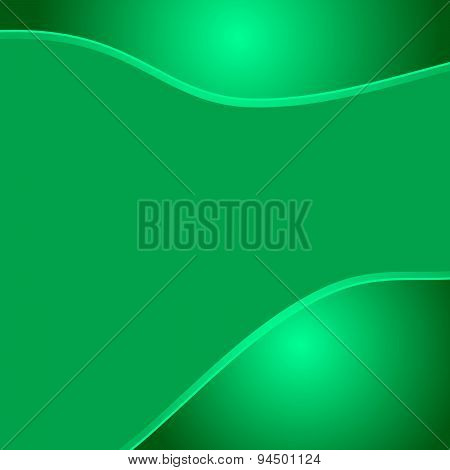 Green wave eco abstract two glossy waves natural background with