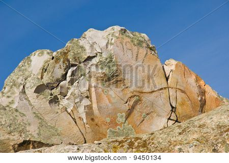 Quartzite Boulder Against The Sky