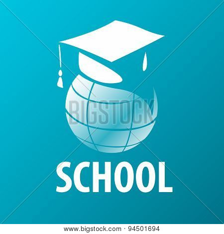 Vector Logo Academic Cap On The Globe