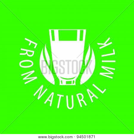 Vector Logo Glassful With Natural Milk