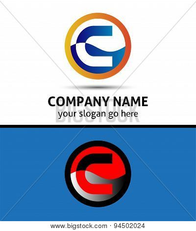 Abstract icon logo for letter C