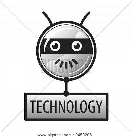 Vector Logo Round Robot Head